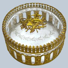 Pretty Antique French Cut Crystal and Dore Bronze Casket Box and Lid.