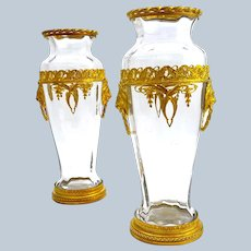 Pair of Exceptional Antique BACCARAT Crystal Vases with Double Lion Handles.