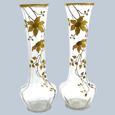 A Very Tall Pair of Antique French Crystal Vases Beautifully Gold Enamelled with Large Flowers.