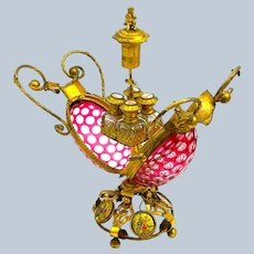 Super Large Antique French Palais Royal Ruby Red and Clear Oval Perfume Casket.