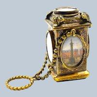 Antique French Palais Royal Grand Tour Perfume Bottle with Original Carnelian Seal.