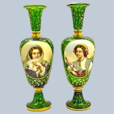 A Large Pair of High Quality Antique Bohemian Green Overlay Glass Portrait Vases