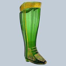 Antique Miniature Bohemian Whimsical Green Glass Boot.