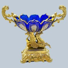 Antique French Cobalt Blue Cut Crystal and Dore Bronze Mounted Centrepiece.