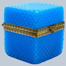 Antique French Blue Opaline Glass Diamond Cut Square Casket Box