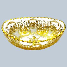 Stunning Antique St Louis Gilded Glass Bowl with Undulating Rim.