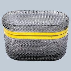 Unusual French Smokey Grey Diamond Pattern Glass Oval Casket.