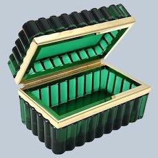 Antique Murano Emerald Green Glass Rectangular Casket Box.