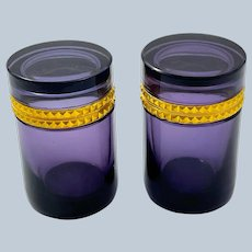 Pair of Antique Amethyst Glass Cylindrical Caskets with Intricate Dore Bronze Mounts.