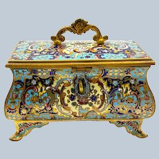 A Stunning Antique French Champlevé Jewellery Casket Box