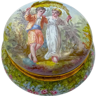 Exquisite Antique French Enamel Compact and Pill Box Finely Decorated with Young Courting Couple