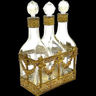 HUGE Napoleon III Triple Crystal Glass Perfume Bottle Set with Dore Bronze Mounts.