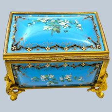 A Superb Palais Royal Antique French 'Bombe' Jewel Casket with Enamelled Panels by Tahan.