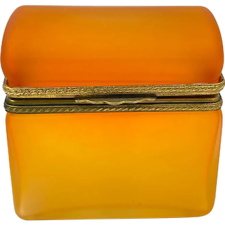 Unusual Vintage Murano Tangerine Glass Casket with Domed Lid and Dore Bronze Mounts.