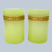 Pair of Antique Yellow Opaline Glass Cylindrical Caskets with Dore Bronze Mounts.