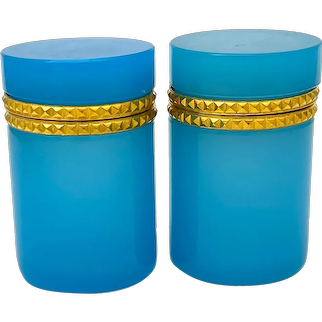 Pair of Antique Blue Opaline Glass Cylindrical Caskets with Intricate Dore Bronze Mounts.