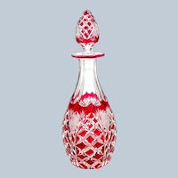 Antique BACCARAT Cranberry Hobnail Cut Crystal Glass Bottle and Original Stopper.