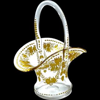 Antique St Louis Gilded Glass Bon Bon Basket with Undulating Rim and Handle.