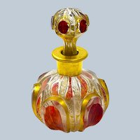 Antique MOSER Red Cut to Clear Perfume Bottle with Ruby Cabochons.