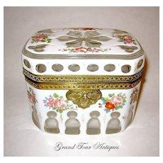 Stunning Bohemian circa 1860 White Overlay box