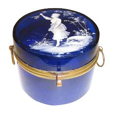 Gorgeous Mary Gregory cobalt blue casket, circa 1880