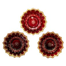 Set of 3 Bohemian 19th Century Ruby Red Crystal Glass