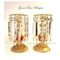 Stunning Pair Bohemian 'Jeweled' Lustres CandleHolders. Circa 1860