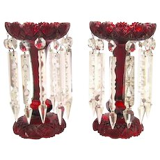 A Fine Pair of Bohemian 19th Century Ruby Red Cut Glass Lustres Candle holders