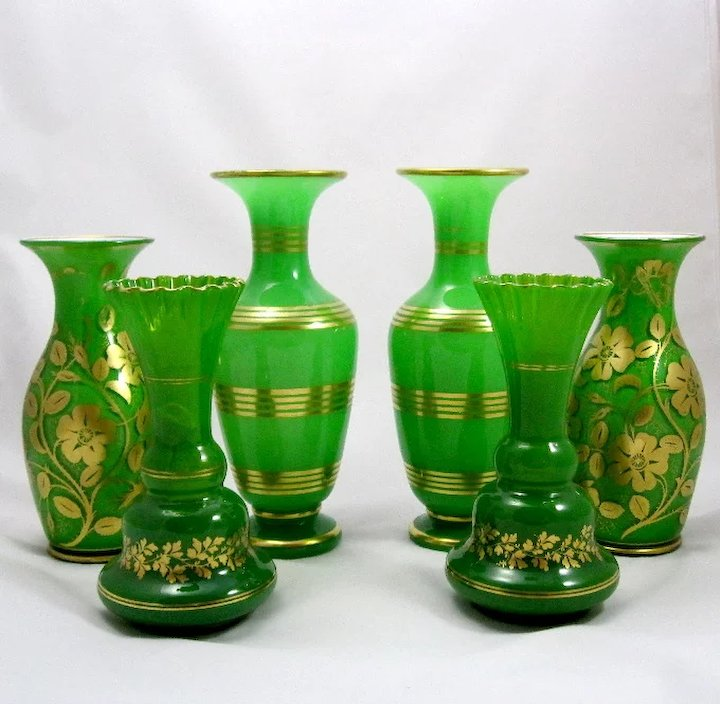 Pair Of Stunning Antique Green Opaline Glass Vases Grand Tour