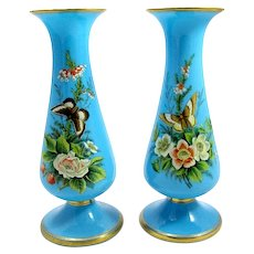 Pair of French 19th Century Blue Opaline Glass Vases Enamelled with Flowers and Butterflies