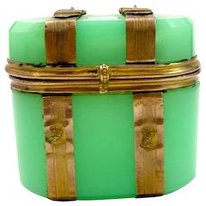 Antique Dinky French Green Opaline Glass Casket Box.
