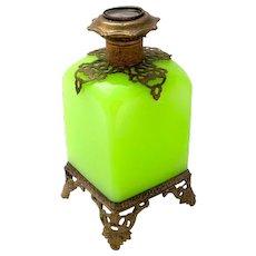 Large Palais Royal Green Opaline Glass Perfume Bottle with Miniature of Paris