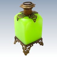 Palais Royal Green Opaline Perfume Bottle with Miniature of Paris