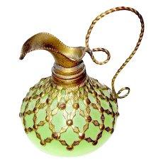Pretty French 19th Century green opaline glass ewer with fine dore bronze mounts