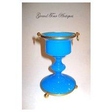 Elegant French 19th Century Blue Opaline Glass Vase