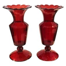 Pair Bohemian 19th century Antique Ruby Red Vases
