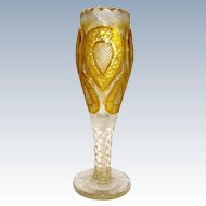 A MOSER Clear and Amber Gold Enamelled Fluted Glass Vase.