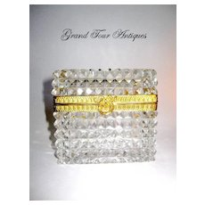 Antique Baccarat French Glass and Ormolu Casket
