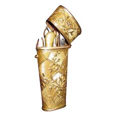1830 French Dore Bronze Etui With Floral Decoration