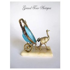 Unusual Dore Bronze Ostrich and Opaline Watch Holder
