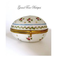 Antique French Porcelain Box with hand Painted Roses