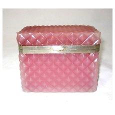 French  Pink Opaline Glass Diamond Cut Rectangular Casket.