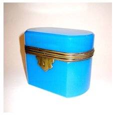 A French 19th Century blue opaline oval glass box.