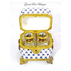 Rare Antique French Opaline Scent Casket Circa
