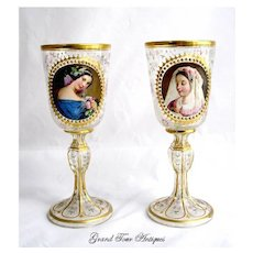 Antique Bohemian Portrait Vases