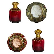 Palais Royal Ruby Glass Perfume Bottle with Cameo