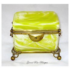 Rare French Yellow Opaline Glass Casket