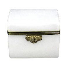 French White Opaline Glass Casket