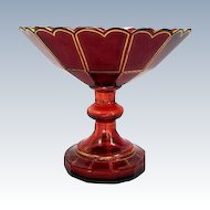 Bohemian 19th Century Antique Deep Red Cut Crystal Glass Centerpiece