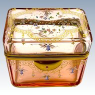 Unusual MOSER Peach Coloured Glass Box Enamelled with Bluebells